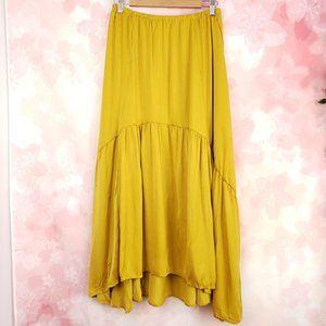 Alembika Yellow Satin Boho Flowey Midi Skirt L